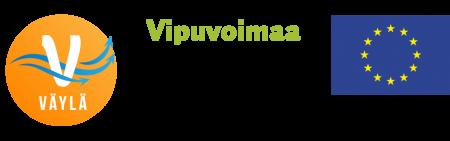 Väylä-hankkeen logo, Vipuvoimaa EU:lta 2014-2020 -tunnus sekä Euroopan sosiaalirahaston tunnus.